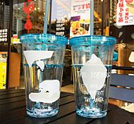 Transparent Cartoon Drinkware 450 ml Portable BPA Free Plastic Juice Water Tumbler