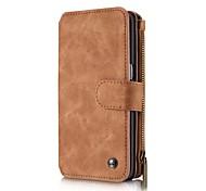 Для Кейс для  Samsung Galaxy Кошелек / Бумажник для карт / со стендом / Флип / Магнитный Кейс для Чехол Кейс для Один цвет Твердый