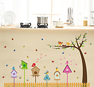 Cartoon Bird Nest Sing Note Skirting Line Wall Stickers DIY Living Room Wall Art Fashion Wall Decals