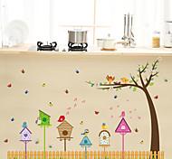 Cartoon Bird Nest Sing Note Skirting Line Wall Stickers DIY Living Room Wall Art Fashion Wall Decals