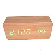 RayLineDo® Latest Design Fashion Bamboo Wood Green LED Light Wooden Digital Alarm Clock -Time Temperature Date Display - Voice and Touch Actived