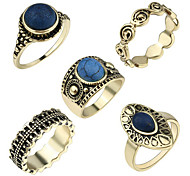 Ring Acrylic Party Daily Casual Jewelry Alloy Women Ring 1set Golden Europe Fashion Ancient Beautiful 5pcs Rings