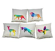 Set of 5 Creative geometric lattice animal pattern Linen Pillowcase Sofa Home Decor Cushion Cover