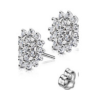 Stud Earrings Jewelry Sterling Silver Rhinestone Fashion White Blue Jewelry Party Daily 1 pair
