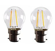 2W B22 Lampadine LED a incandescenza G45 2 COB 200 lm Bianco caldo Intensità regolabile AC 220-240 AC 110-130 V 2 pezzi