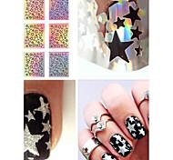 9 Tips/Sheet Laser Star Nail Vinyls Nail Stencils Hollow Nail Sticker Nail Art Tools for DIY