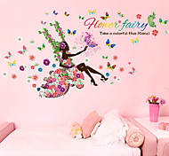 Creative Flower Fairy Swing Wall Stickers Beautiful Flowers Girls Wall Decals Removable Living Room Wall Stickers Home And Garden