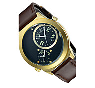 Men's Fashion Watch Quartz / Leather Band Skull Brown