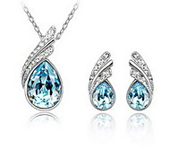 Jewelry Set Crystal Crystal Drop Red Blue Party 1set 1 Necklace 1 Pair of Earrings Wedding Gifts