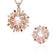 Цирконий Циркон Медь Позолоченное розовым золотом Розовое золото 1 ожерелье Кольца Для Свадьба Для вечеринок Повседневные 1 комплект