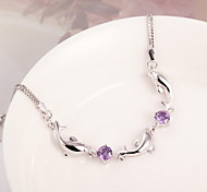Chain Bracelet Crystal Silver Plated Simulated Diamond Fashion Jewelry Purple Jewelry 1pc
