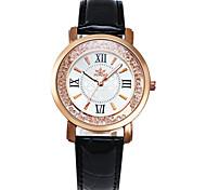 Women's Fashion Watch Casual Watch Imitation Diamond Quartz PU Band Black White Red Pink