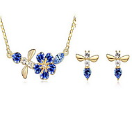 Jewelry Set Crystal Alloy Purple Fuchsia Green Blue Light Blue Party 1set 1 Necklace 1 Pair of Earrings Wedding Gifts