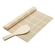 2Pcs  Kitchen Accessories Sushi Tools Rolling Roller Bamboo Material Mat Maker DIY And A Rice Paddle Cooking Tools