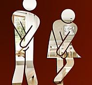люди Наклейки Зеркальные стикеры Наклейки для туалета,Винил материал Съемная Украшение дома Наклейка на стену