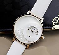 Women's Fashion Watch Quartz Leather Band Black White Brand