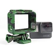 i395c camouflage support de couverture de la frontière pour GoPro Hero 5 accessoires pour appareil photo (vert / gris / jaune)