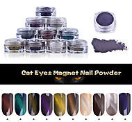 1g/box Cat Eye Powder Effect Magic Mirror Powder UV Gel Polish Nail Art Magnet Glitter Pigment
