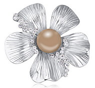 Women's Brooches Crystal Pearl Alloy Natural Flower White Black Dark Blue Gray Bronze Jewelry Daily