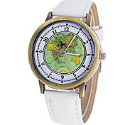 Couple's Fashion Watch Quartz Fabric Band World Map Black White Red Green