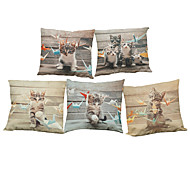 Set of 5 Cartoon cute cat pattern  Linen Pillowcase Sofa Home Decor Cushion Cover (18*18inch)