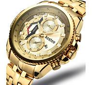 Men's Wrist watch Quartz Stainless Steel Band Silver Gold Brand