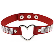 Choker Necklaces Jewelry Leather Simulated Diamond Alloy Heart Fashion Euramerican Sexy Punk White Black Red Light Brown JewelryDaily