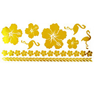 1Pc Gold Long Bracelet Tattoo Sticker 23x10CM