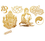 1Pc Gold Metallic Tattoo Sticker 23x15.5CM
