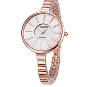 Women's Fashion Watch Quartz PU Band Casual Rose Gold