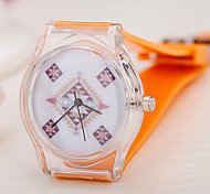 Montre Tendance Quartz Plastique Bande Orange Orange