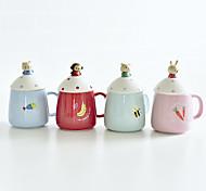 Мультяшная тематика Стаканы, 350 ml Переносной Керамика Телесный Молоко Кофейные чашки Чашки для путешествий