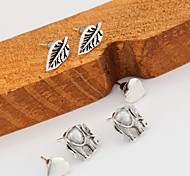 Stud Earrings Jewelry Alloy Unique Design Geometric Simple Style Cute Style Heart Leaf Jewelry white light Jewelry Party Daily Casual 1set