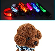Cat Dog Collar Anti Bark LED Lights Camouflage Red White Green Blue Pink Yellow Orange Nylon