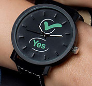 Fashion Watch Quartz Leather Band Casual Black White Black