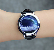 Unisex Fashion Watch Quartz Genuine Leather Band Cool Casual Black