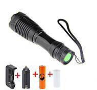 UKing ZQ-X949#-US CREE XML T6 2000LM Adjustable Focus Flashlight Torch Kit with 1*18650 and Charger