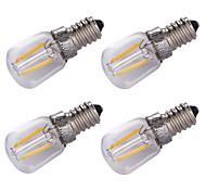 1.5W E14 Bombillas de Filamento LED 2 COB 100 lm Blanco Cálido Decorativa AC220 V 4 piezas