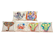 Set of 6  Color painting pattern Linen Pillowcase Sofa Home Decor Cushion Cover