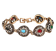 Chain Bracelet Resin Simulated Diamond Alloy Bohemian Drop Gold Silver Jewelry 1pc