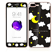 For Apple iPhone 7 4.7 Tempered Glass with Soft Edge Full Screen Coverage Front and Back Screen Protector the Moon and the Stars Pattern