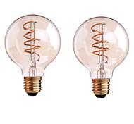4W B22 E26/E27 Bombillas de Filamento LED G80 1 COB 400 lm Blanco Cálido Regulable AC 100-240 AC 110-130 V 2 piezas