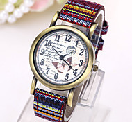 Women's Fashion Watch Quartz Fabric Band Black White Blue Red