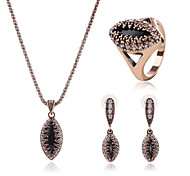 Jewelry 1 Necklace 1 Pair of Earrings 1 Ring Diamond Special Occasion Diamond Crystal Alloy 1set Gold Wedding Gifts