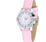 Men's Women's Fashion Watch / Quartz Leather Band Casual Red Pink