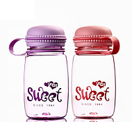 Minimalism Cartoon Drinkware, 320 ml Portable Leak-proof Plastic Tea Juice Water Bottle