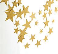 raylinedo® 1 Stück 4 Meter goldenen Papiergirlande für Hochzeit Geburtstag Party Weihnachten Mädchen Raumdekoration Sterne 7 formen * 7cm
