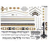 1Pc Gold And Silver Metallic Tattoo Sticker 23x15.5CM