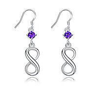 Exquisite Silver Plated Amethyst Purple Crystal 8 Style Drop Earrings for Wedding Party Women Jewelry Accessiories