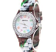 Mulheres Relógio de Moda Quartzo Silicone Banda Cores Múltiplas